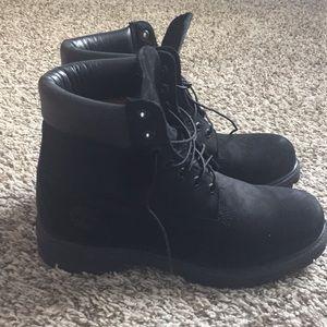 Black high timberland waterproof boots w/ box